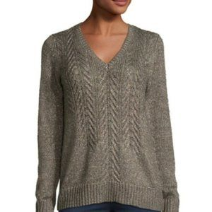 MICHAEL Michael Kors Cable-Front V-Neck Sweater M
